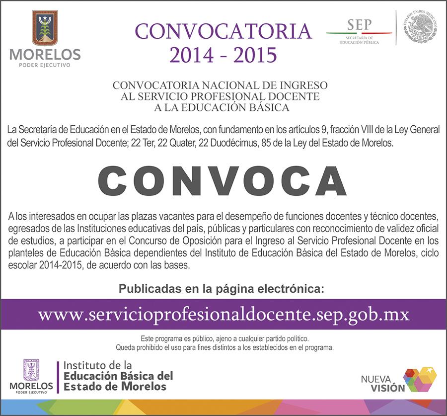 Convocatoria nacional de ingreso al servicio profesional Convocatoria para las plazas docentes 2016