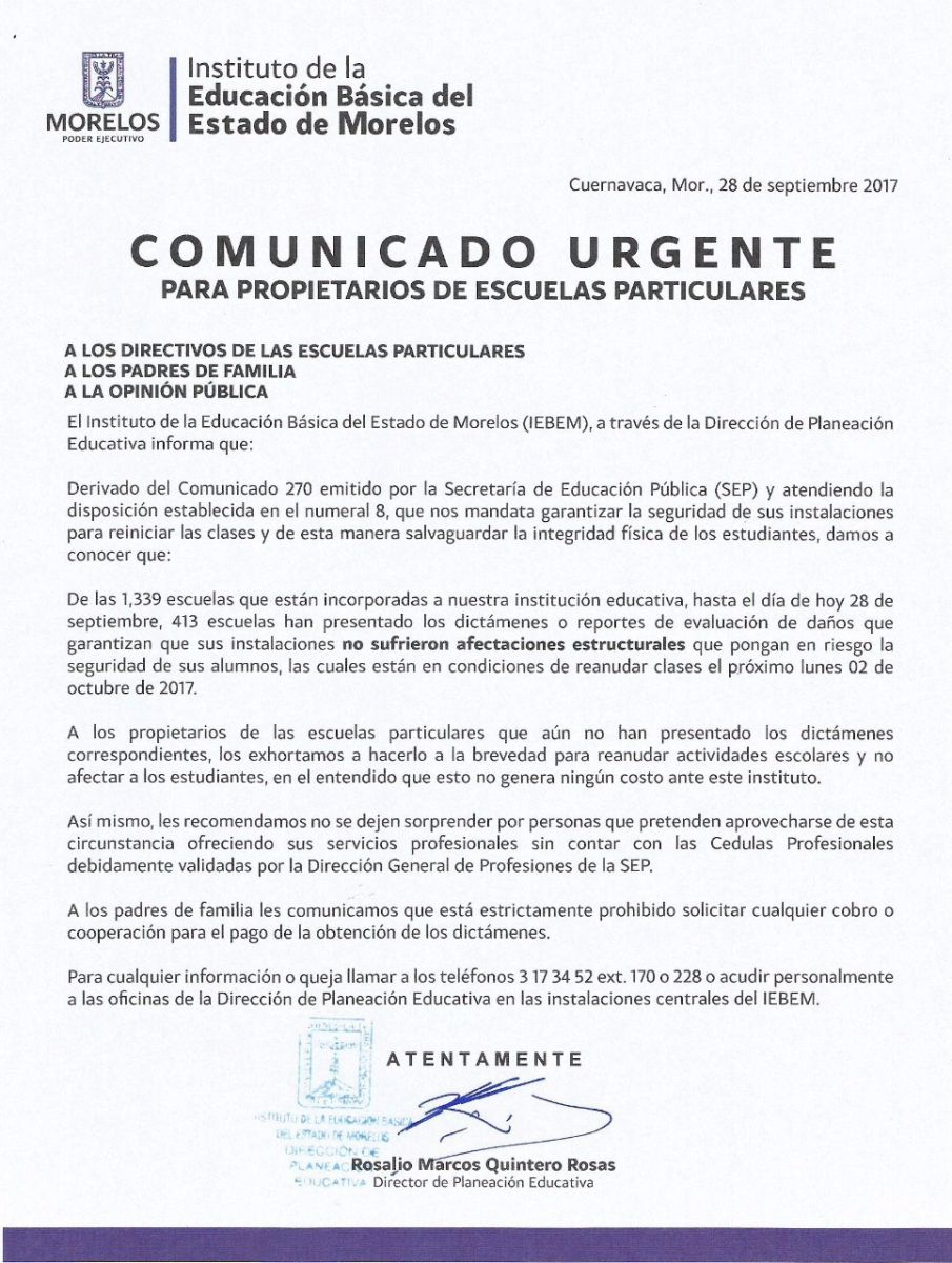COMUNICADO URGENTE 28 SEPTIEMBRE 2017 | Instituto de la Educación ...